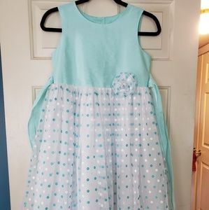 Marmellata Teal Polka Dot Formal Dress